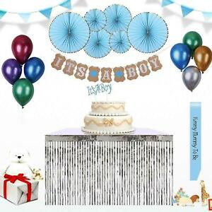 Baby Shower Decorations for Boys Party Supplies Banner Balloon Sash Fans Topper