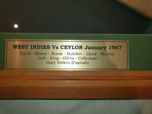 Memorabilia miniature cricket bat signed by 1967 West Indian Team playing Ceylon