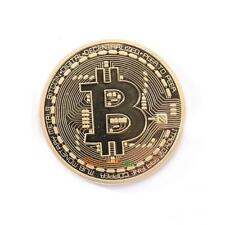 Gold Plated Physical Bitcoins Casascius Bit Coin BTC With Case Collectible Gift