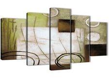 5 Pannello Marrone Verde Pittura Astratta Tela Camera da letto Decor - 5421 - 160 cm
