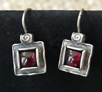 SILPADA RARE Sterling Silver 925 Square GARNET Earrings W1052 Oxidized Locking