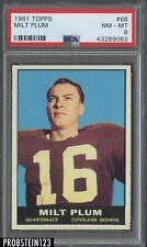 1961 Topps Football #68 Milt Plum Browns PSA 8 NM-MT CENTERED