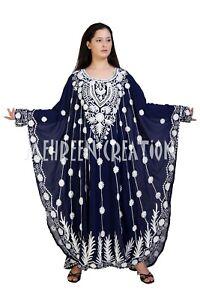 Blue Moroccan Farasha Caftan Dubai Kaftan Abaya Wedding Gown women Maxi Dress