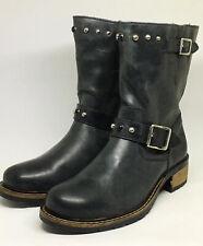 Armani Junior Black Leather Studded Biker Boots UK Size 5, EU 38