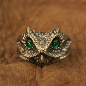 Green CZ Eyes Brass Adder Viper Snake Ring Mens Biker Punk Ring BR267A US 7~15