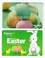 Walmart Gift Card LOT of 2 - Easter Bunny, Chicks, Dyed Eggs - Older -No Value