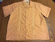 Vintage 70s Men Guayabera Cuban Wedding Shirt Short Sleeve Embroider Button