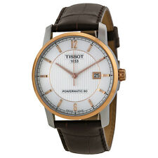 Tissot T-Classic Silver Dial Brown Leather Mens Watch T0874075603700
