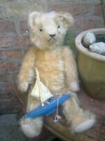 """Antique collectors jointed  beige mohair 22"""" character teddy bear glass eyes"""