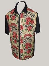 C-unique Cream Skulls & Roses Rockabilly 50s Lounge Diner Shirt Goth Psychobilly L