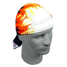 Airbrushed Flames Orange White Doo Rag Sweatband Headwrap Skull Cap Biker Durag