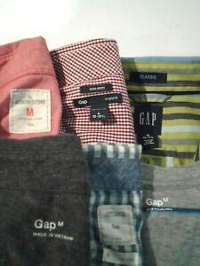 Lot of 6 Gap Men's Shirt Size Medium L/S Button Up S/S T-Shirt Top