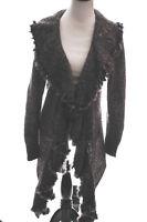 Love Token Sweater Coat Boho Long Cascade Waterfall Rabbit Fur Trim Gray Black S