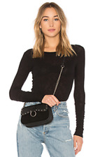 Rebecca Minkoff Keith Small Saddle Bag Black Leather/Suede Chain Crossbody Purse