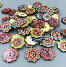 50pcs Retro Wooden Buttons 2Holes Flower DIY Sewing Scrapbooking Craft 19mm