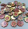 100pcs Retro Wooden Buttons 2Holes Flower DIY Sewing Scrapbooking Craft 19mm