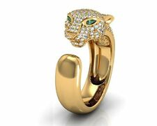 CERTIFIED PANTHER 1.80CT PEAR CUT EMERALD DIAMOND 14K YELLOW GOLD WEDDING RING