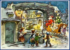Alter Adventskalender HACO 60 Elfriede Türr Weihnachtsmann im Schlitten