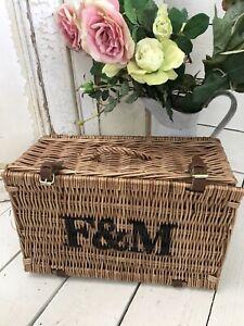 FORTNUM AND MASON F&M Wicker Hamper Basket, Picnic Storage Display EX COND
