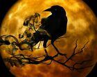 Black Raven with Moon - Gothic Halloween 8 X 10 PRINT