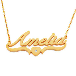 AMELIA - Custom Heart Shaped Name Necklace - 18ct Gold Plated - Valentines Day