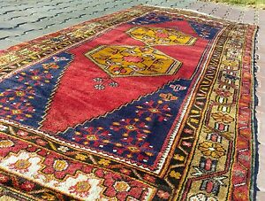 "Rare Antique 1930-1940's Wool Pile,Vegy Dyes Tribal Area Rug 3'9""× 8'7"""