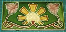 Antique Art Nouveau 6x3 Decorative Tile with Pink, Yellow & White Floral Motif