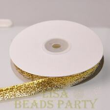 "10 Yards 5/8"" 16mm Sparkle Glitter Velvet Ribbon Sewing Wedding Silver&gold"