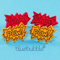 LARGE FUNKY SUPER HERO EARRINGS COOL KITSCH RETRO NOVELTY COMIC CARTOON FUN