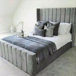 Arizona Wing Bed Upholstered Ottoman Storage Bed Frame with Headboard Footboard