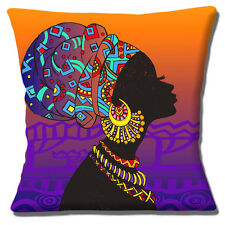 "Tribale Africaine Lady 16""x16"" 40 cm Housse de Coussin Silhouette Violet Orange Nuances"