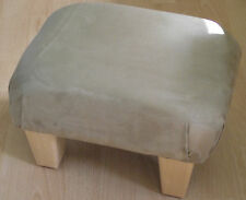 Superb light brown faux suede small footstool light solid wood legs foot stool