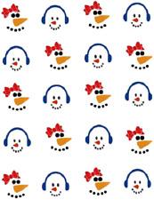 Boy & Girl Snowman Faces Waterslide Nail Decals/Nail Art