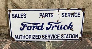 """Vintage """"Ford Trucks"""" Porcelain Enamel Sign 18"""" x 8"""""""