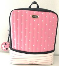 Luv Betsey by Betsey Johnson Backpack Quilted Hearts Stripes Black Pink NWT