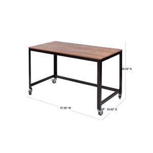 48 in. Rectangular Classic Oak/Black Writing Desk with Wheels