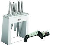 New GLOBAL Kabuto Shiro 7 piece Knife Block Set & Bonus Sharpener Japanese, Save