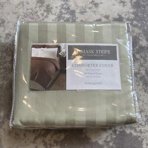 Comforter Cover Full/Queen Damask Stripe  500 Thread Count Pima Cotton New