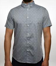 Oxford Lads Mens Light Gray Polka Dots Short Sleeve Button Down Shirt S