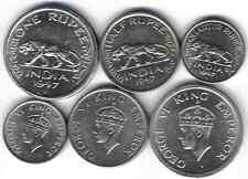 BRITISH INDIA 1/4, 1/2, 1 rupee 1947. UNC set TIGER