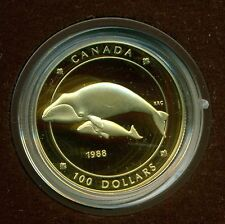 """1988 Canada $100 14 Karat Gold Commemorative Coin """"Bowhead Whale and Her Calf"""""""