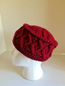 Irish Aran hat wool handknit cable traditional woman's gift diamonds Cranberry
