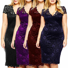 Womens Celeb Bodycon Lace Midi Dresses V-neck Short Sleeve Party Dress Plus Size