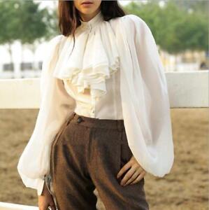 Womens Chic Loose Long Sleeve Chiffon Shirt Ladies Ol Flounce Blouses Tops