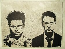 Canvas Painting Fight Club Movie Grey Speckled Art 16x12 inch Acrylic
