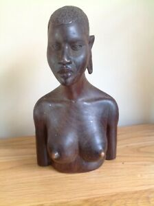 """African tit tribal sculpture , wood carved head,African art culture, 12"""" bust,"""