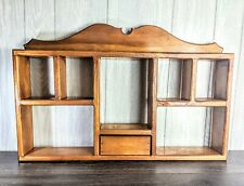 Vintage Wood Knick Knack Hanging Display Wall Shelf/With drawer Out 7 Shelves