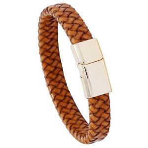 Punk Mens Genuine Brown Leather Bracelet Bangle Wristband Statement Cuff Wrap