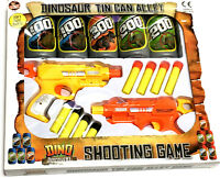 TWIN GUN DINOSAUR TIN CAN ALLEY SHOOT GAME TOY BOYS CHRISTMAS STOCKING FILLER