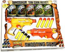 TWIN GUN Dinosauro Tin Can Alley sparare Giocattolo Gioco Ragazzi Natale Stocking Filler